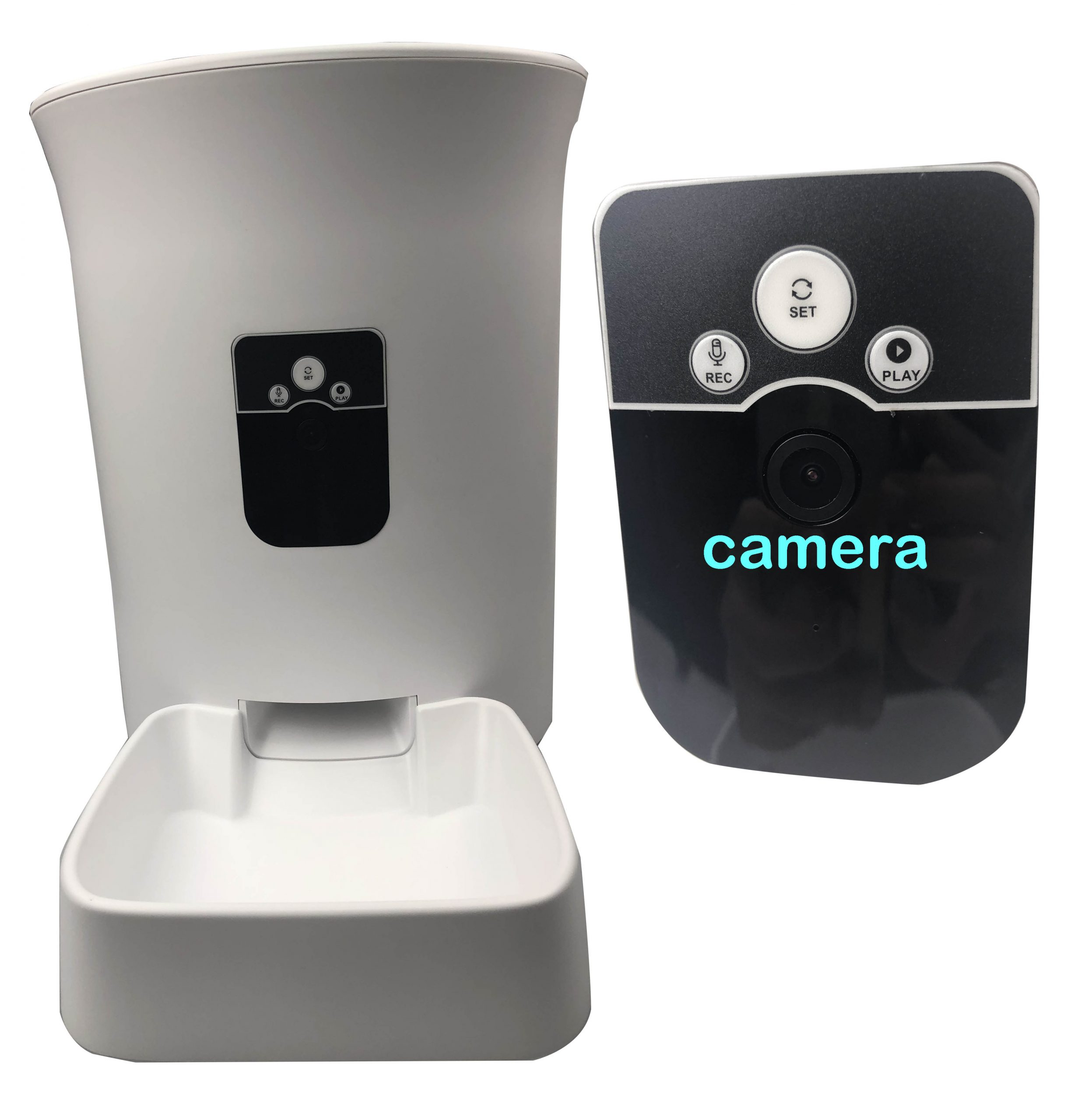 Large capacity automatic dog feeder with remote camera